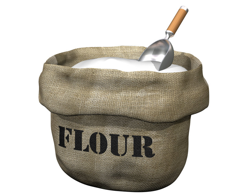 Sack of flour. Isolated illustration of an open sack containing flour stock illustration