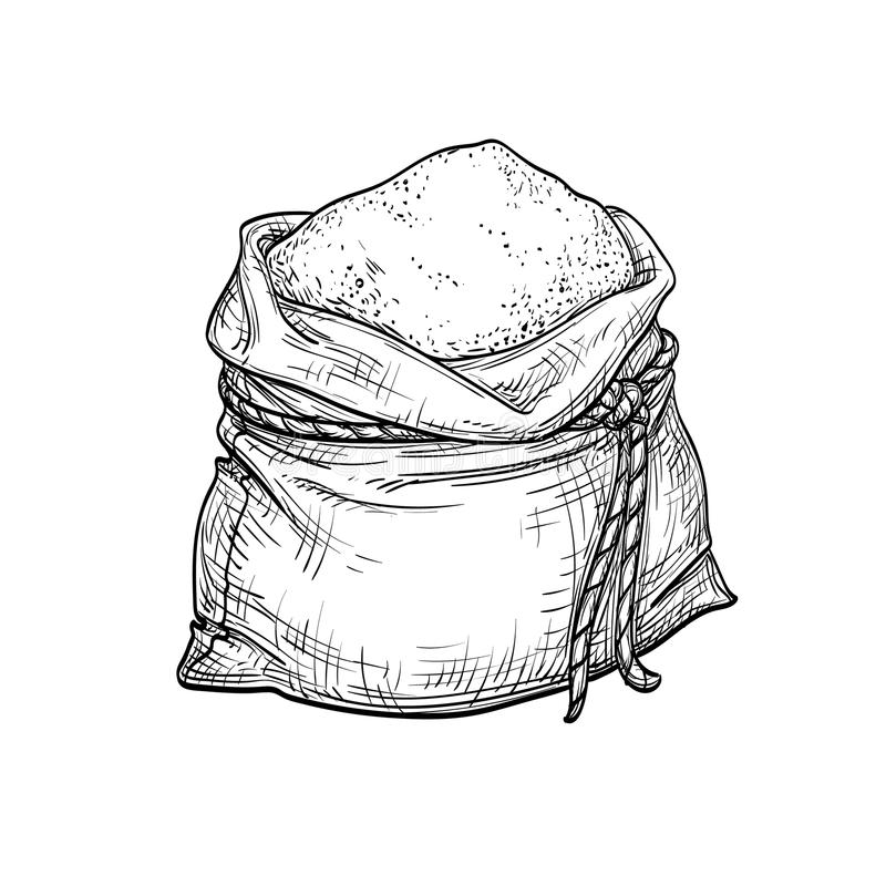 Sack of flour. Hand drawn vector illustration. Isolated on white background. Vintage style vector illustration