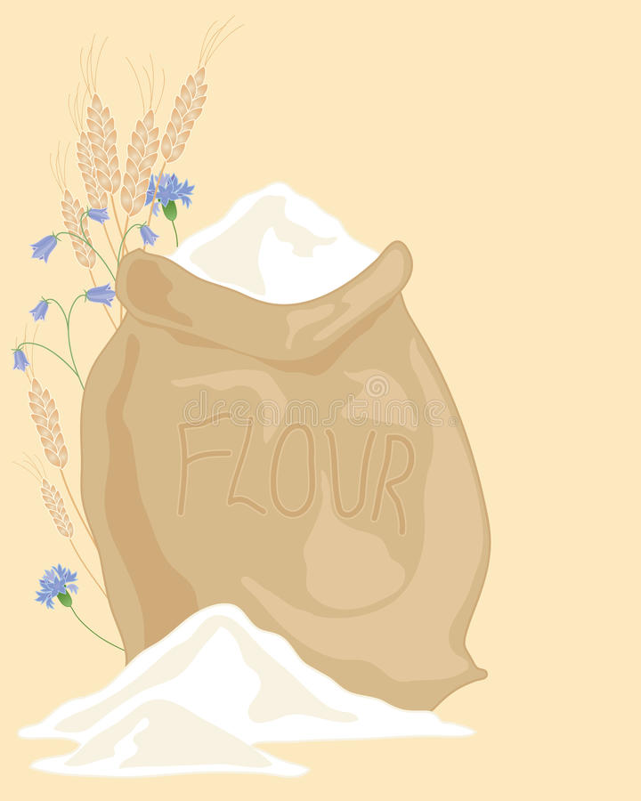Sack of flour. An illustration of a hessian sack of flour with ears of wheat and wildflowers on a beige background royalty free illustration