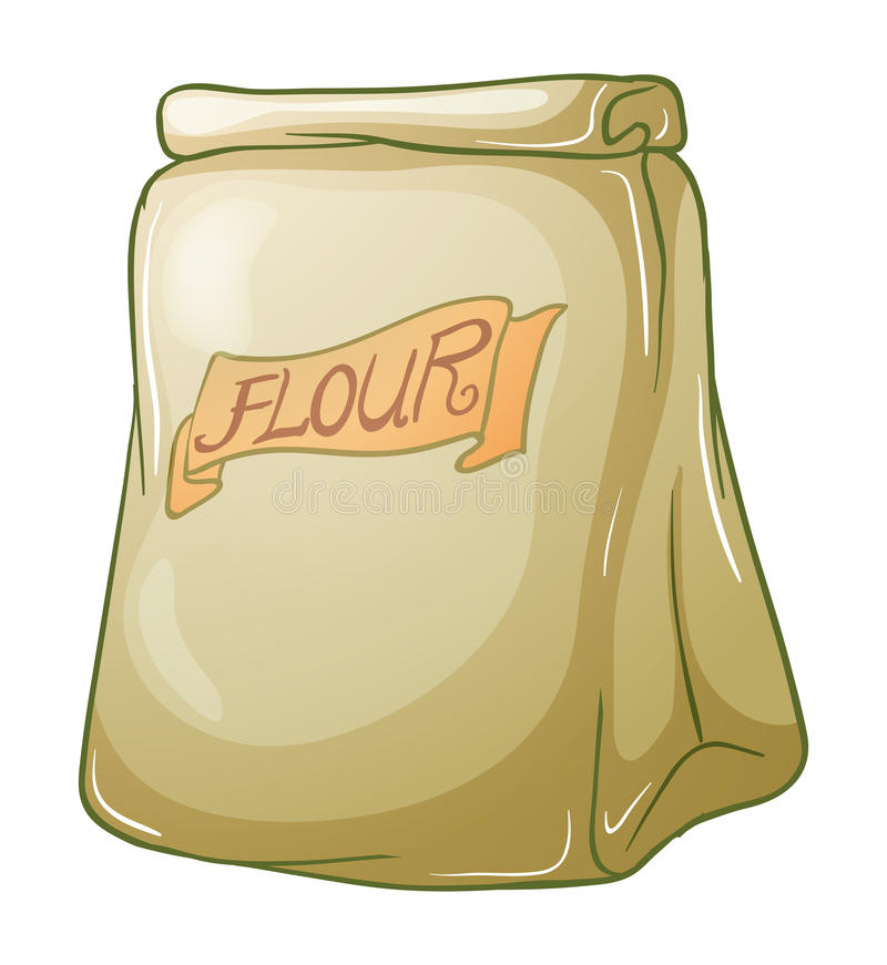A sack of flour. Illustration of a sack of flour on a white background stock illustration