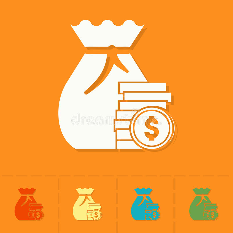 Sack with Money. Business and Finance, Single Flat Icon. Simple and Minimalistic Style. Vector stock illustration