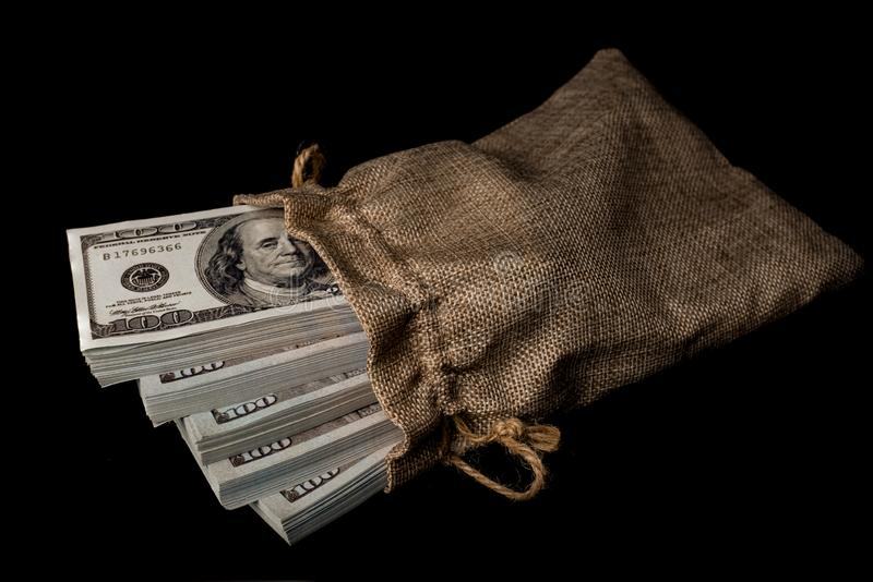 Sack Of Money 100 USD Dollars Banknotes A Lot Of Money Stock Image - Image  of note, rich: 164696143