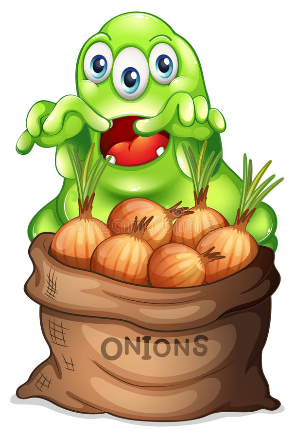 A sack of onions with a monster. Illustration of a sack of onions with a monster on a white background vector illustration