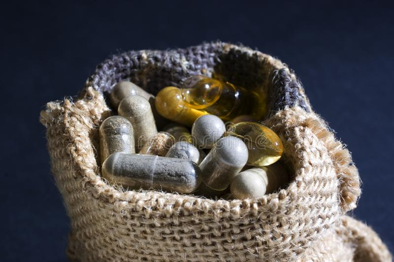 Sack pills royalty free stock photos