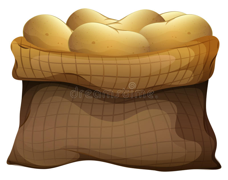 A sack of potatoes. Illustration of a sack of potatoes on a white background stock illustration