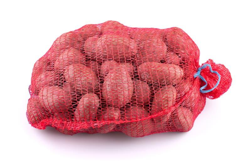 Sack of potatoes. On white background stock image