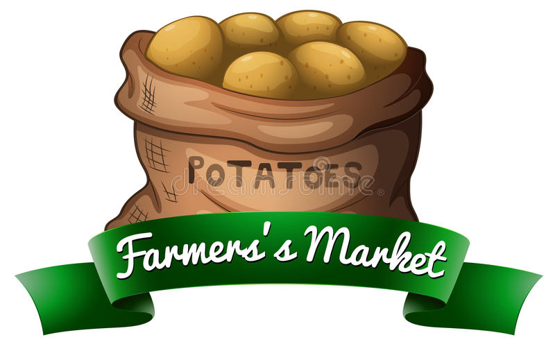 A sack of potatoes. On a white background stock illustration