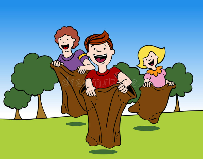 Sack Race. An image of children in a sack race stock illustration