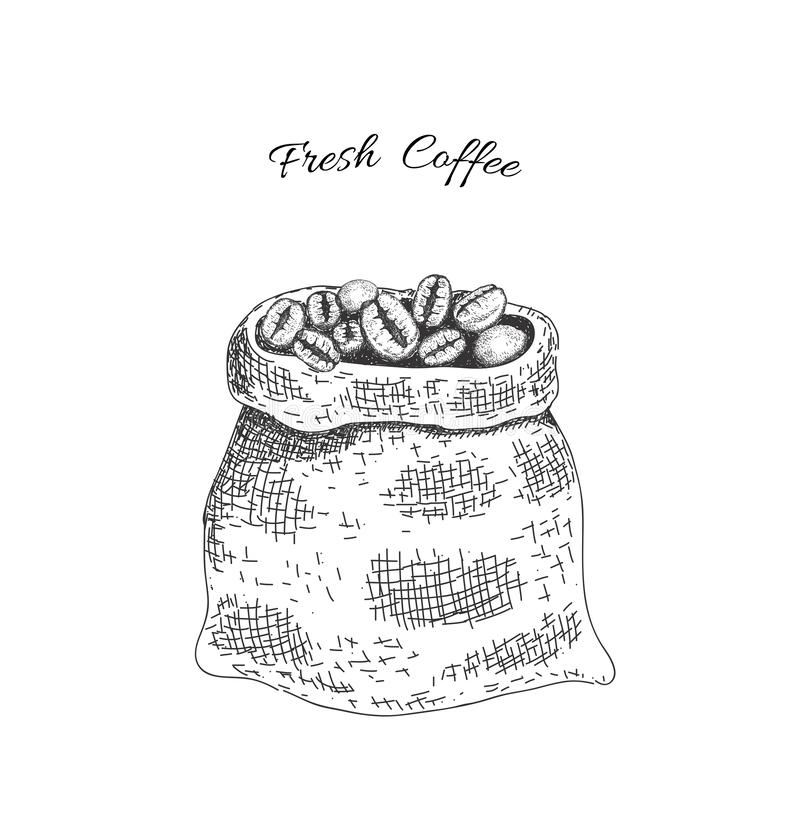Sack with roasted coffee beans. Sketching style. vector illustration