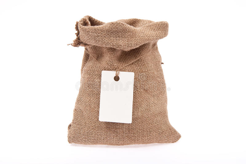 Download Sack with  tag stock photo. Image of blank, tied, mail - 18325106