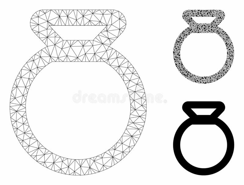 Sack Vector Mesh Carcass Model and Triangle Mosaic Icon. Mesh sack model with triangle mosaic icon. Wire carcass polygonal mesh of sack. Vector mosaic of royalty free illustration