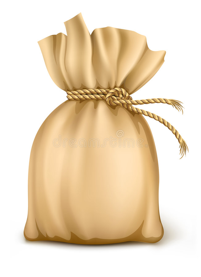 Download Sack Wired By Rope Isolated Royalty Free Stock Images - Image: 8122099