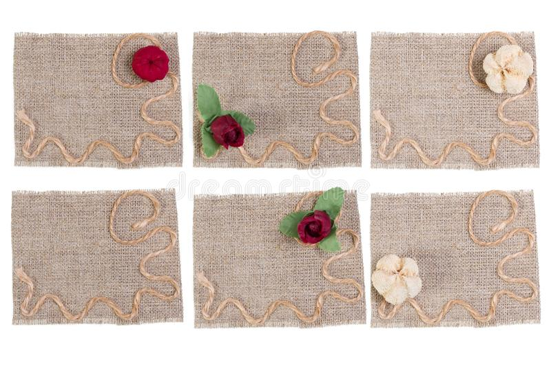 Sackcloth και λουλουδιών διακόσμηση, Burlap σύνολο μπαλωμάτων ετικετών υφάσματος, αγροτικό κομμάτι υφασμάτων σάκων στοκ φωτογραφίες με δικαίωμα ελεύθερης χρήσης