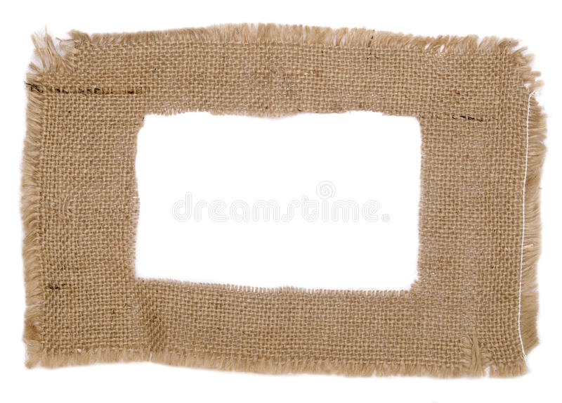 Sackcloth frame. Isolated on white stock images