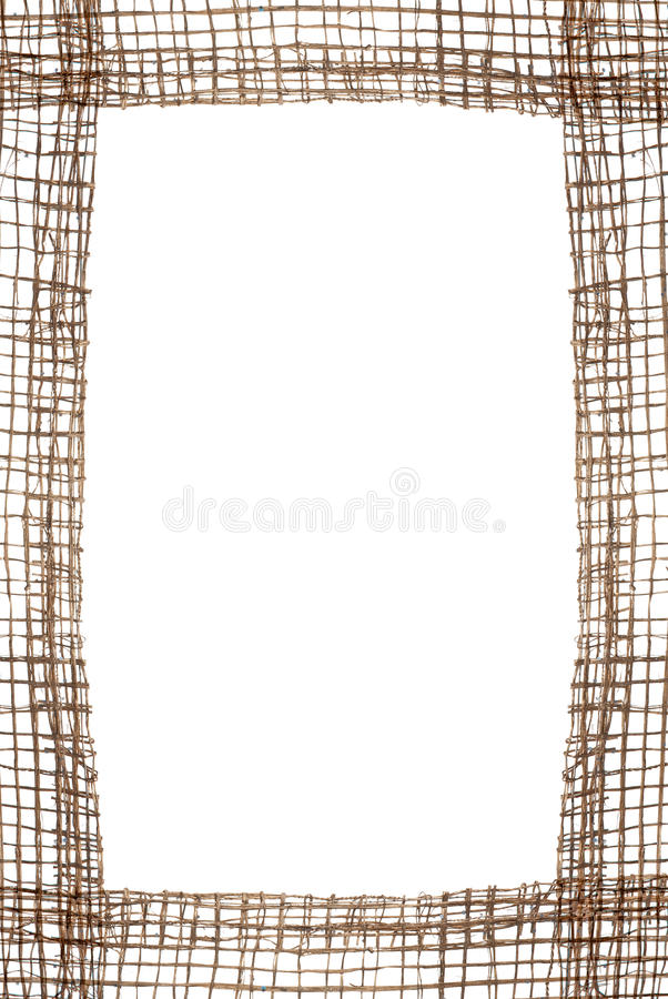 Sackcloth frame. Isolated on white background royalty free stock images