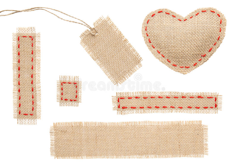 Sackcloth Heart Shape Patch Tag Label Object with Stitches Seam. Burlap Isolated over White Background royalty free stock images