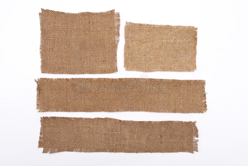 Sackcloth materials. On white background royalty free stock images