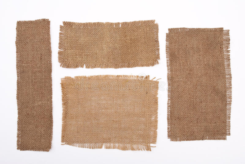 Sackcloth materials. On white background stock images