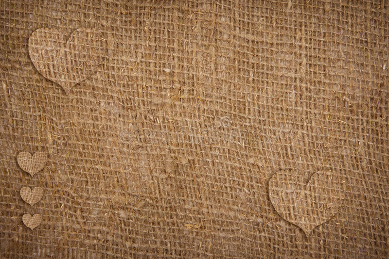 Sackcloth textured hearts for Valentine's Day stock photo