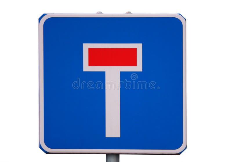 Sackgasse des Verkehrsschildes getrennt auf Weiß stockfotografie