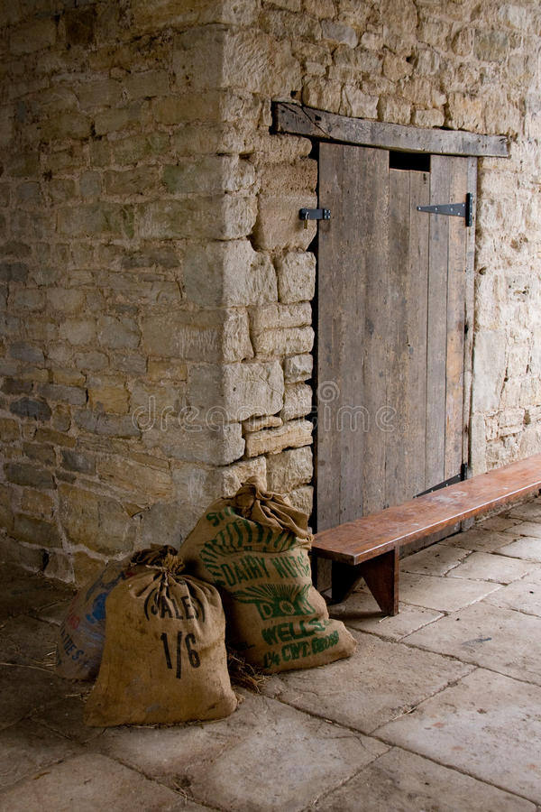 Sacks in a barn