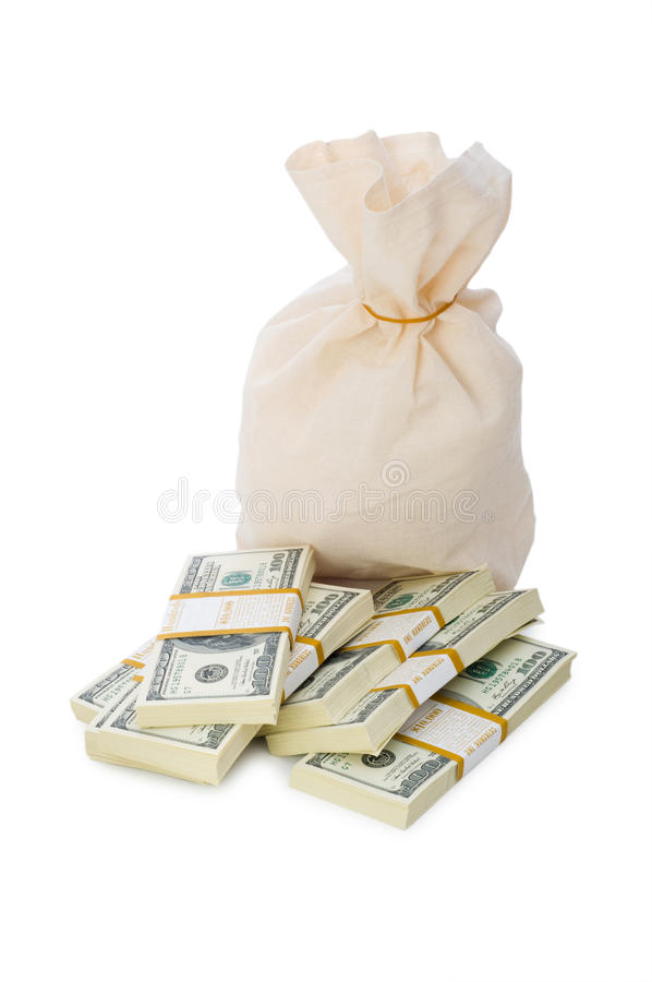 Download Sacks of money isolated stock photo. Image of background - 12170292