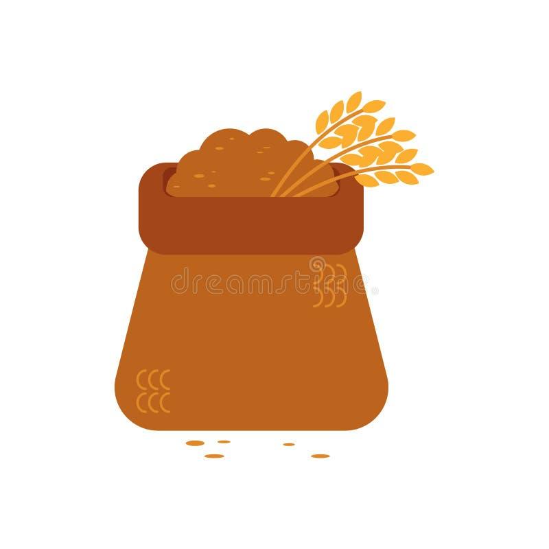 Saco aberto da lona completamente de grão - o símbolo do saco de matéria têxtil encheu-se com os materiais de maioria e as orelha ilustração stock
