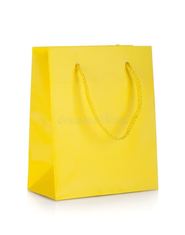 Saco amarelo do presente foto de stock