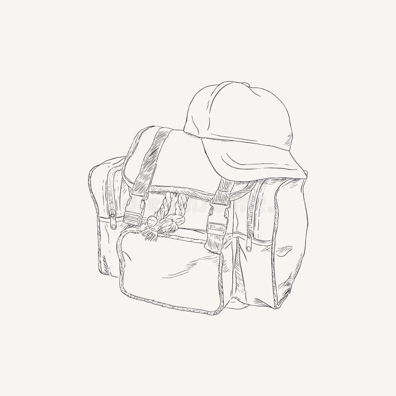 Saco amarelo e tampão branco do grupo de acampamento da trouxa, vetor do esboço ilustração stock