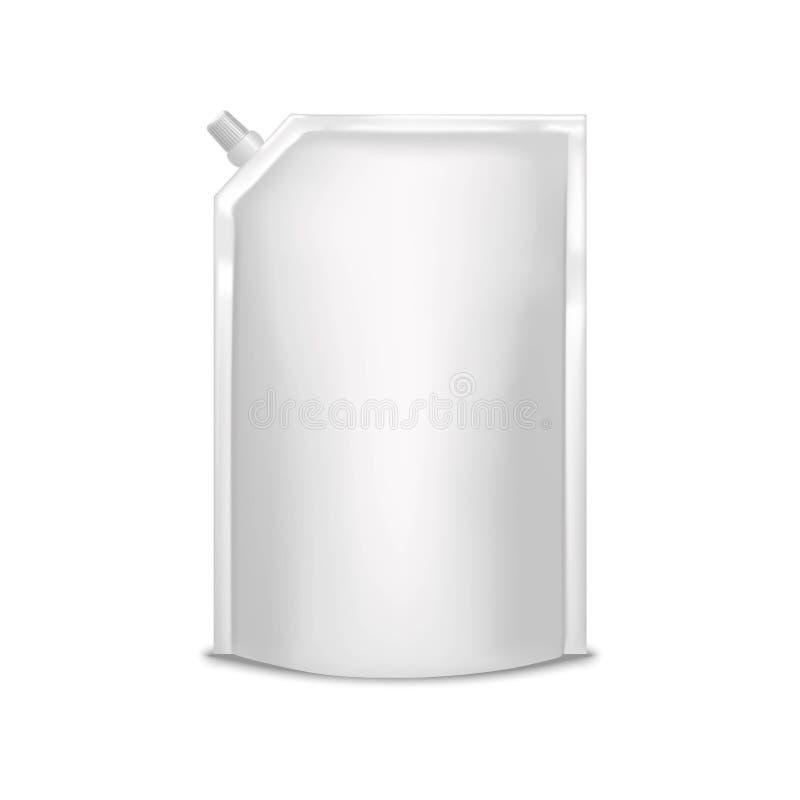 Saco branco vazio da folha do molde que empacota com bloco de Doy da tampa Vetor ilustração do vetor