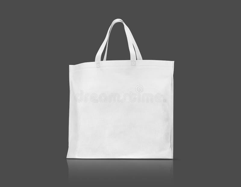 Saco branco vazio da lona da tela para comprar imagens de stock