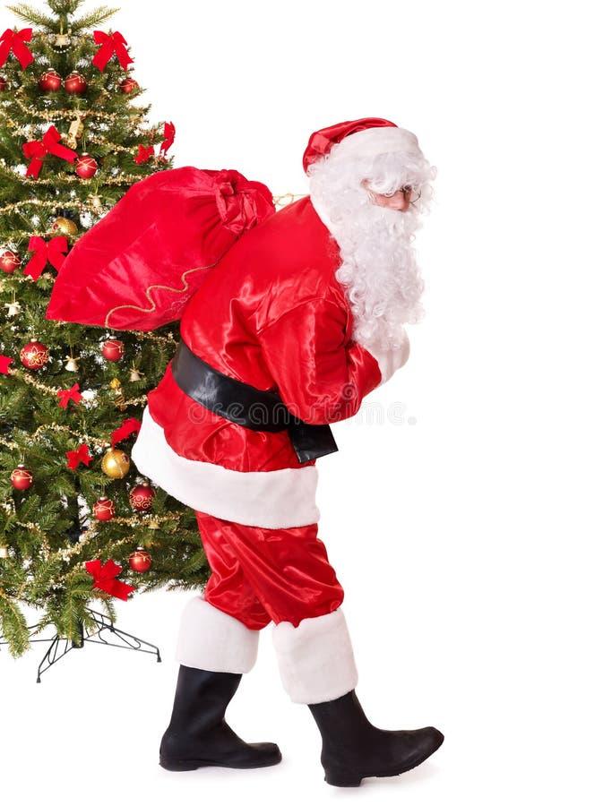 Saco carreg de Papai Noel pela árvore de Natal. fotografia de stock royalty free