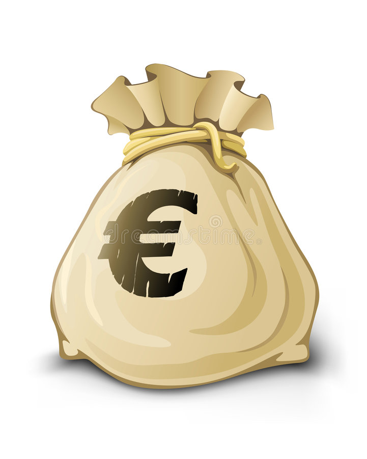 Saco cheio com o euro- dinheiro isolado ilustração do vetor
