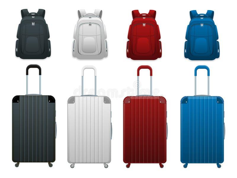 Saco colorido diferente da bagagem do curso do negócio e das férias em família, bagagem moderna, mochila da bolsa, trouxa Grupo d ilustração royalty free