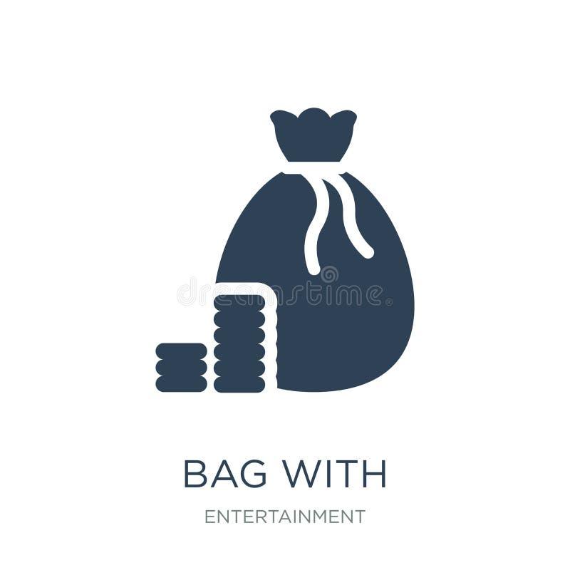 saco com ícone do jogo dos verificadores no estilo na moda do projeto saco com o ícone do jogo dos verificadores isolado no fundo ilustração stock