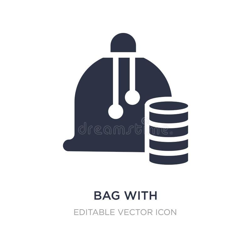 saco com ícone do jogo dos verificadores no fundo branco Ilustração simples do elemento do conceito do entretenimento ilustração stock