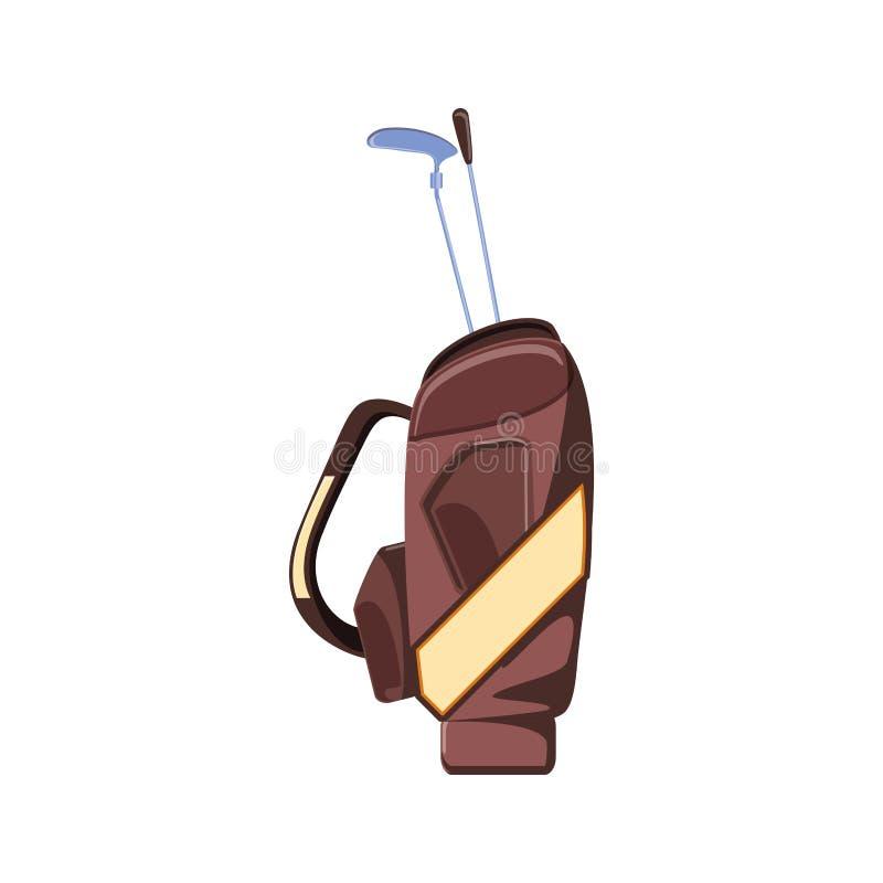 Saco com ícone isolado dos clubes de golfe ilustração stock