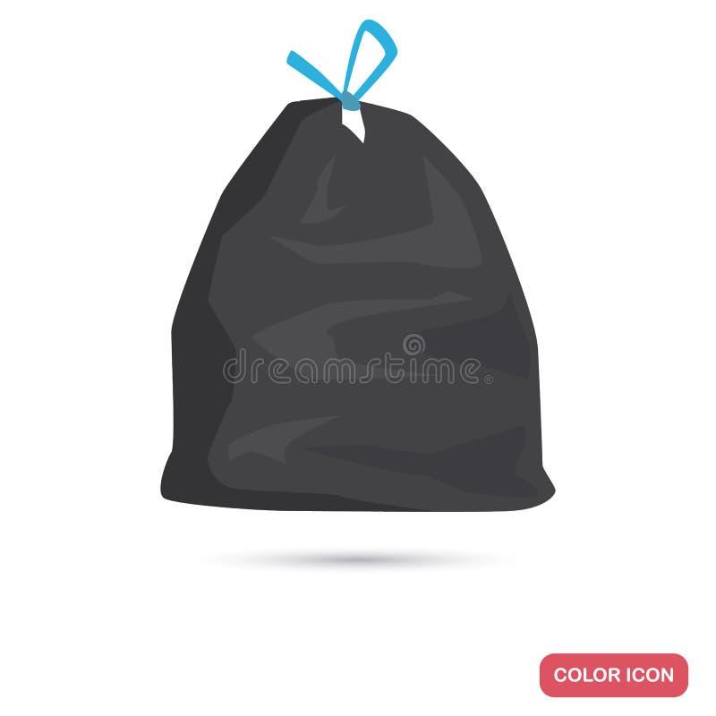 Saco com ícone liso da cor do lixo ilustração do vetor