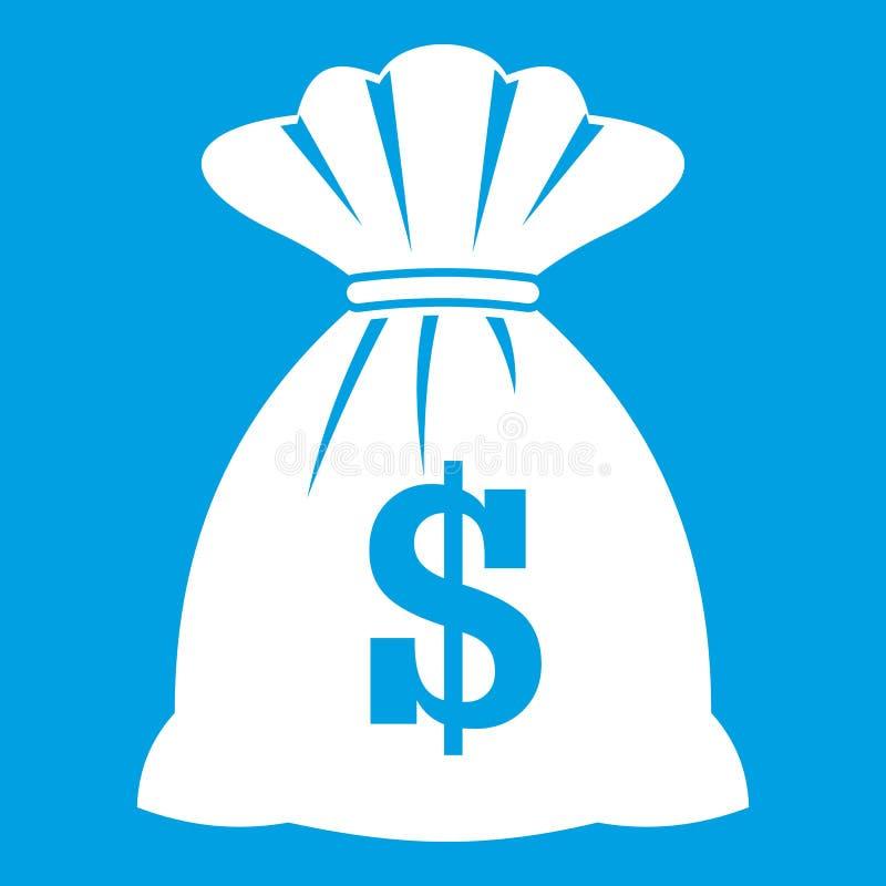 Saco com branco do ícone dos dólares ilustração royalty free