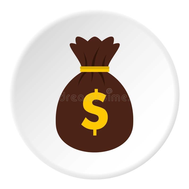 Saco com círculo do ícone dos dólares ilustração royalty free
