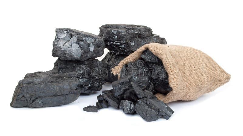 Saco com carvão vegetal dispersado imagem de stock