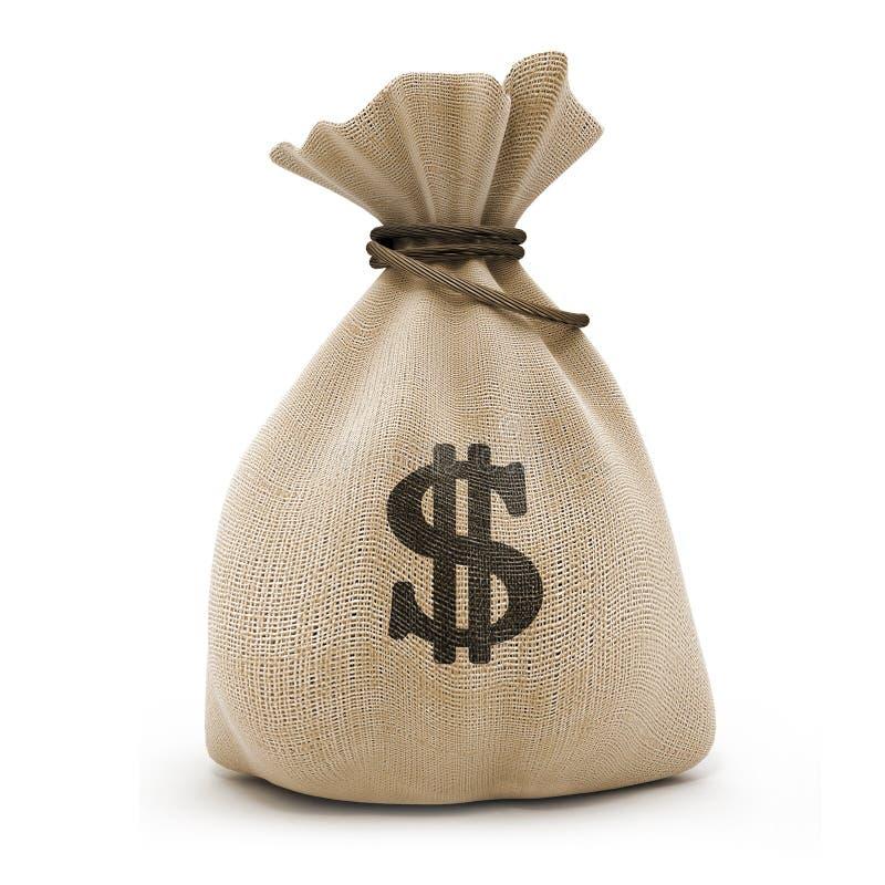 Saco com dólares do dinheiro imagens de stock royalty free