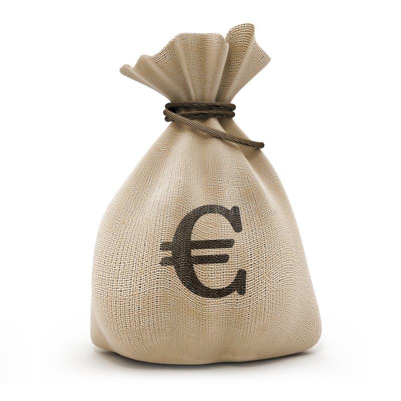 Saco com euro do dinheiro foto de stock royalty free