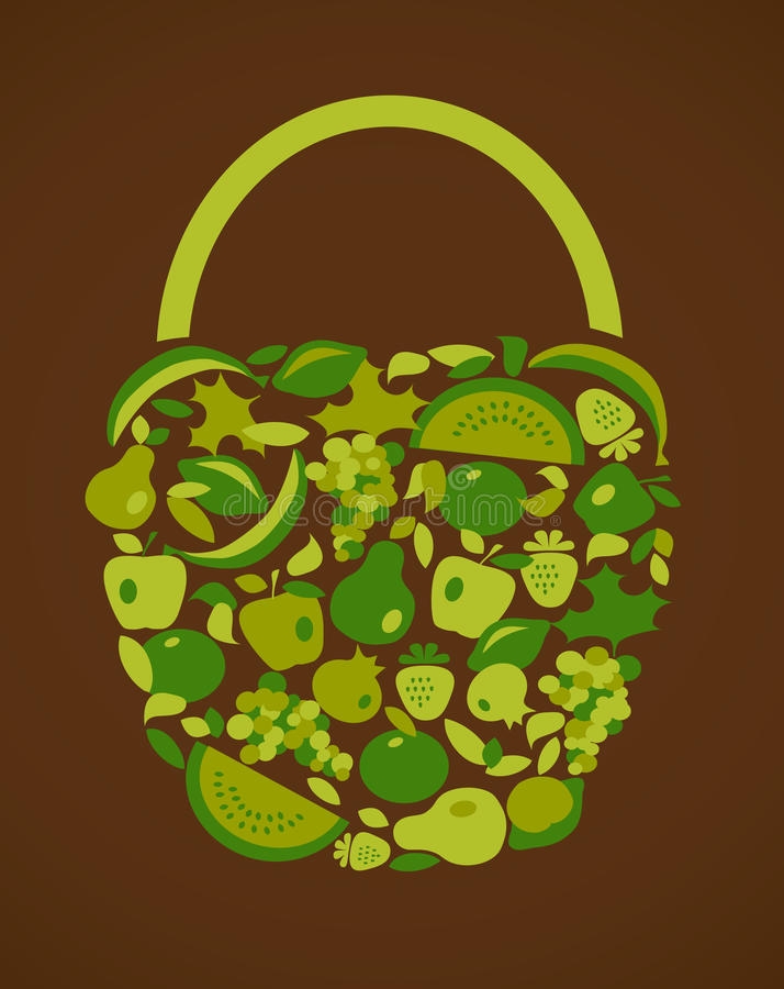 Saco com teste padrão das frutas e verdura ilustração do vetor