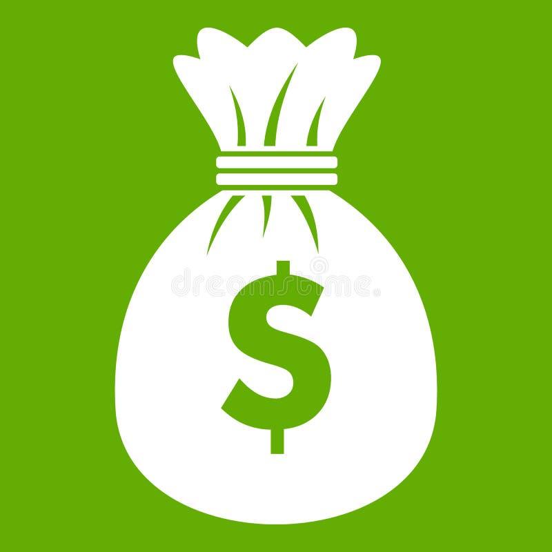 Saco com verde do ícone dos dólares ilustração stock