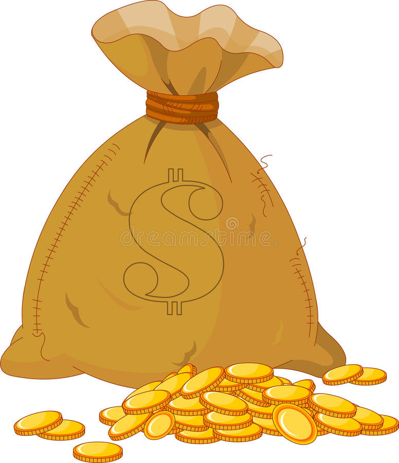 Saco completamente da moeda dourada ilustração do vetor