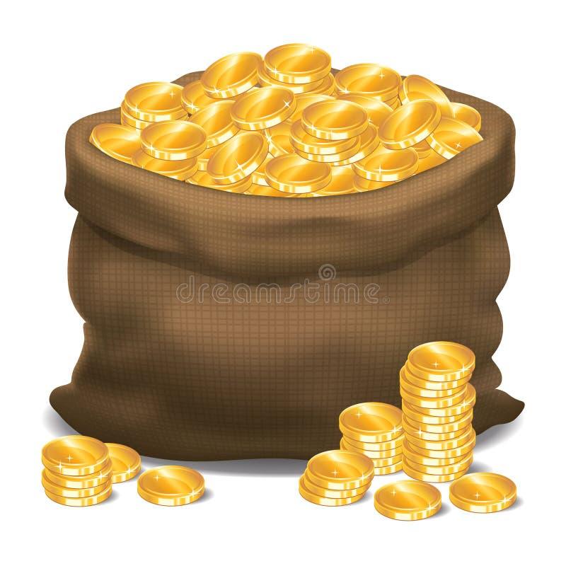 Saco completamente de moedas de ouro Ilustração do vetor ilustração do vetor