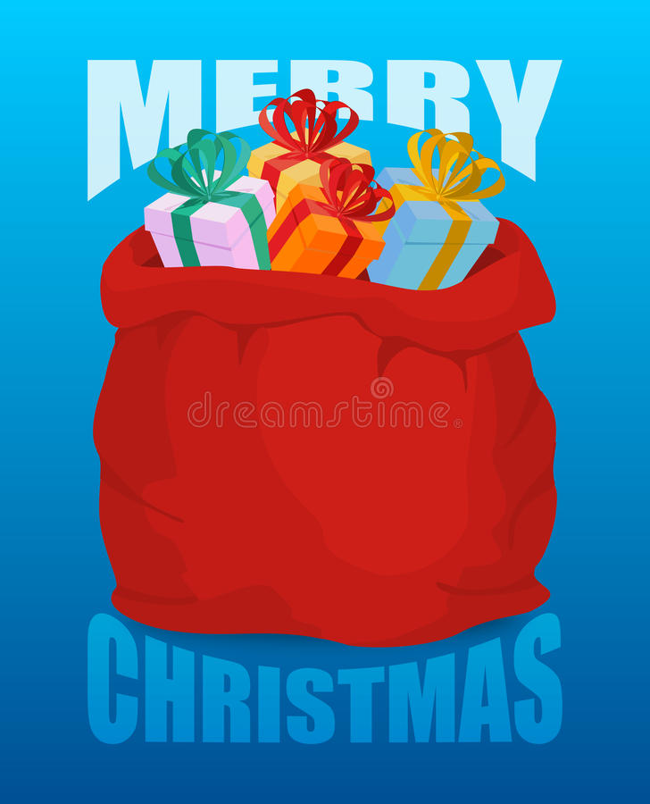 Saco completo de Santa Claus do Feliz Natal de presentes Saco de com pre ilustração royalty free