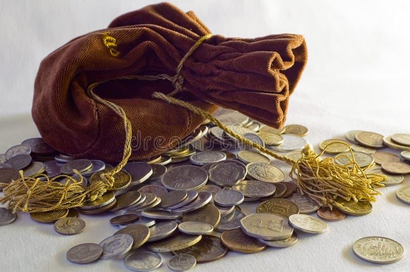 Saco con el dinero fotos de archivo