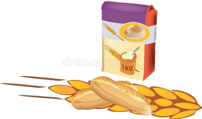 saco da farinha com pão ilustração do vetor